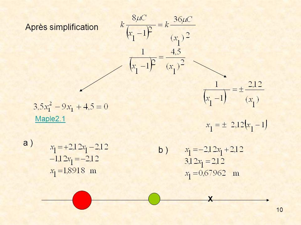 Après simplification Maple2.1 a ) b ) X