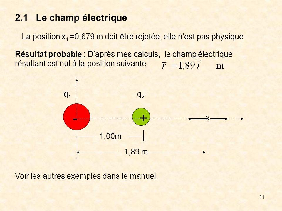 2.1 Le champ électrique La position x1 =0,679 m doit être rejetée, elle n'est pas physique.