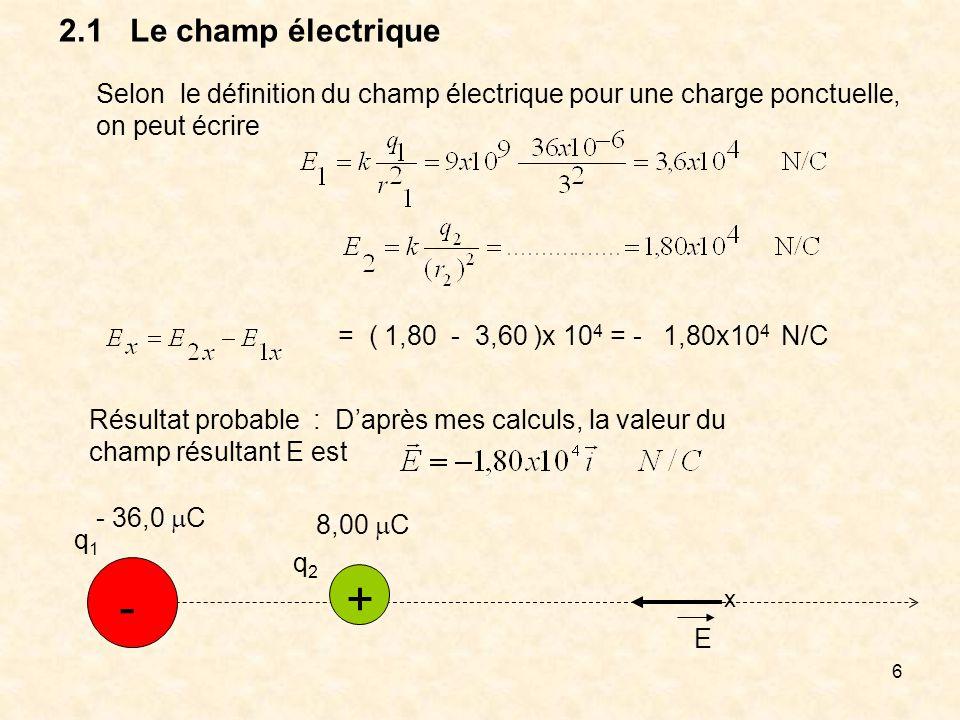 2.1 Le champ électrique Selon le définition du champ électrique pour une charge ponctuelle, on peut écrire.