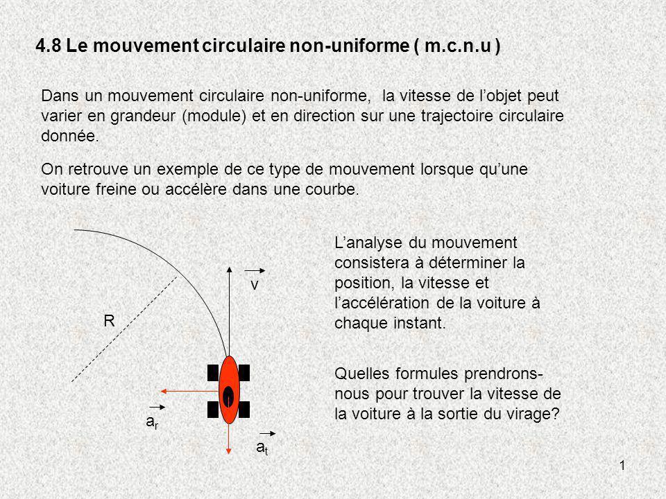 4.8 Le mouvement circulaire non-uniforme ( m.c.n.u )