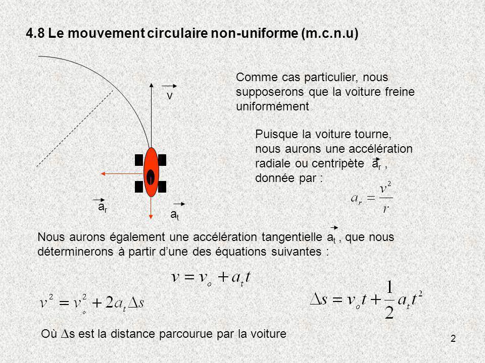 4.8 Le mouvement circulaire non-uniforme (m.c.n.u)