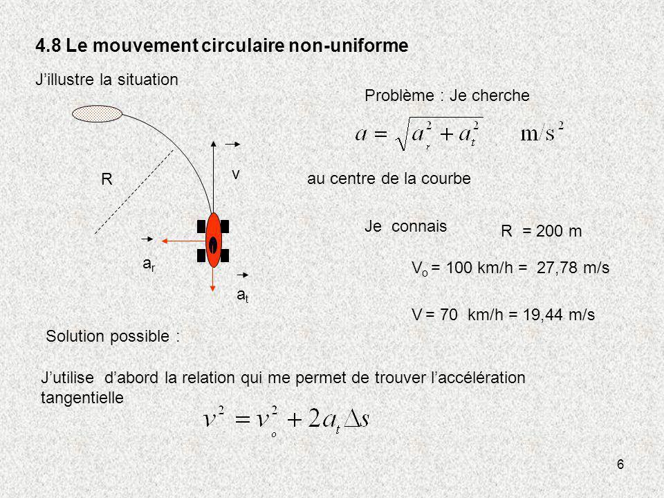 4.8 Le mouvement circulaire non-uniforme