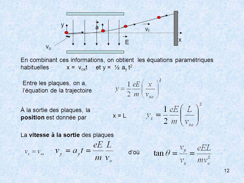 y a. vf. - x. E. vo. En combinant ces informations, on obtient les équations paramétriques habituelles x = voxt et y = ½ ay t2.