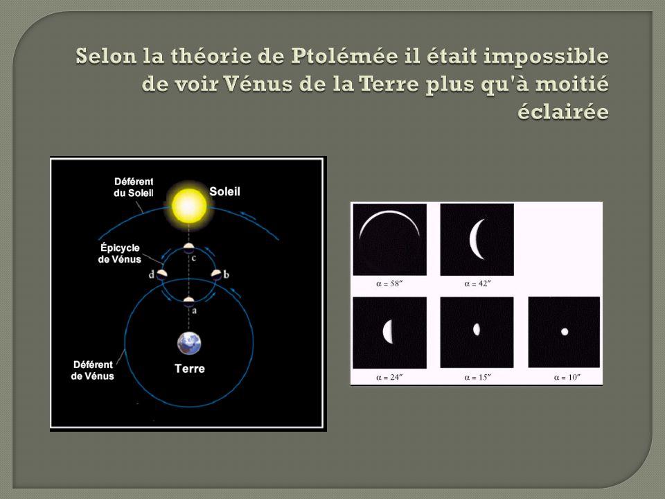 Selon la théorie de Ptolémée il était impossible de voir Vénus de la Terre plus qu à moitié éclairée