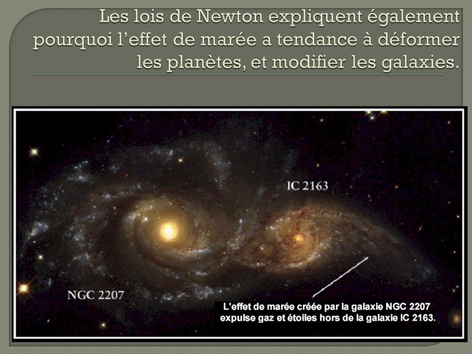 Les lois de Newton expliquent également pourquoi l'effet de marée a tendance à déformer les planètes, et modifier les galaxies.