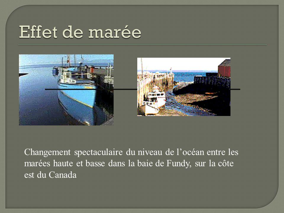 Effet de marée Changement spectaculaire du niveau de l'océan entre les marées haute et basse dans la baie de Fundy, sur la côte est du Canada.