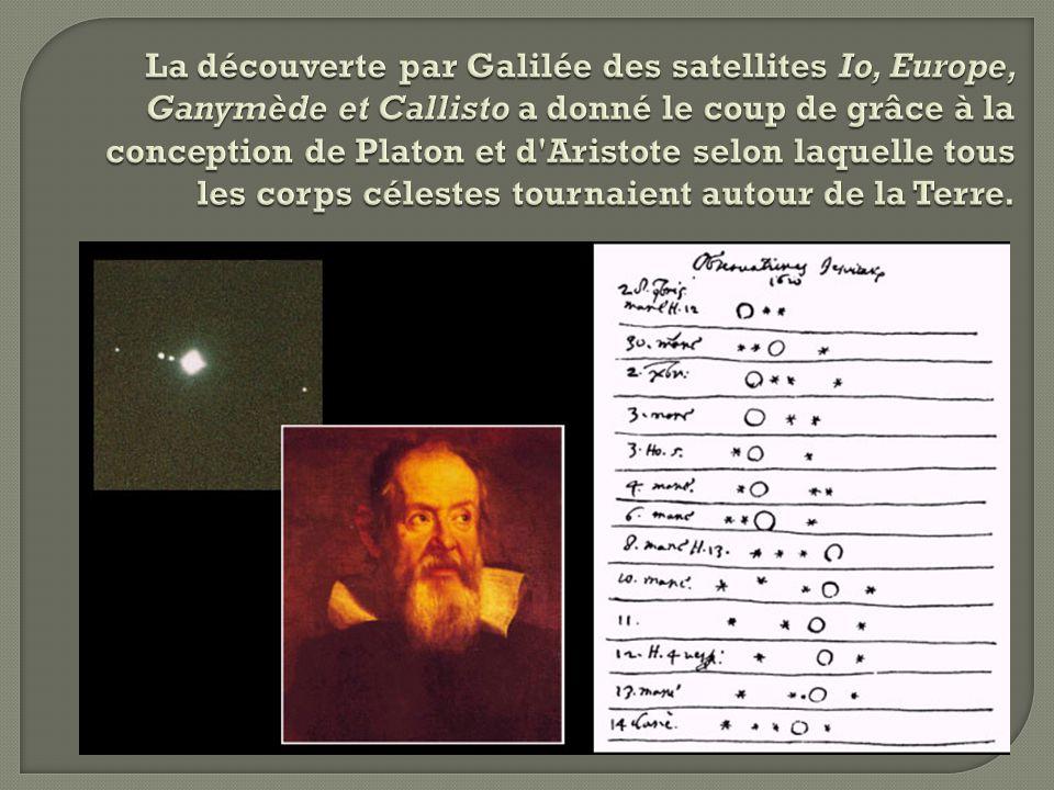 La découverte par Galilée des satellites Io, Europe, Ganymède et Callisto a donné le coup de grâce à la conception de Platon et d Aristote selon laquelle tous les corps célestes tournaient autour de la Terre.