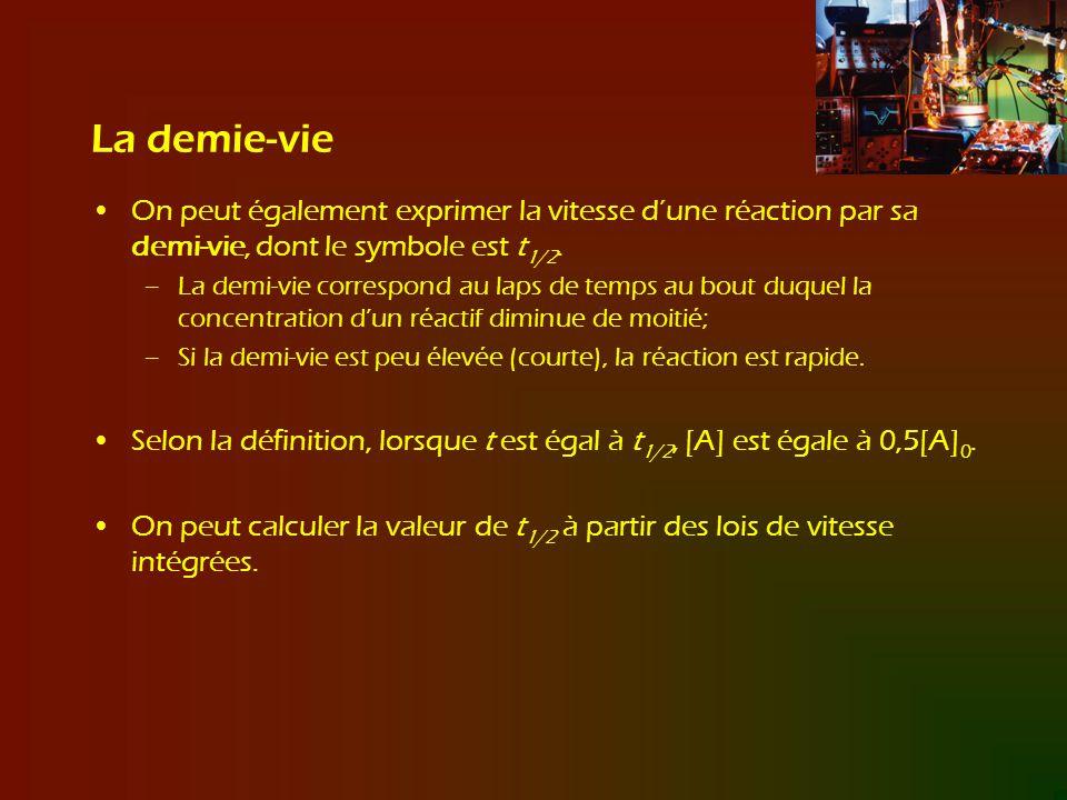 La demie-vie On peut également exprimer la vitesse d'une réaction par sa demi-vie, dont le symbole est t1/2.