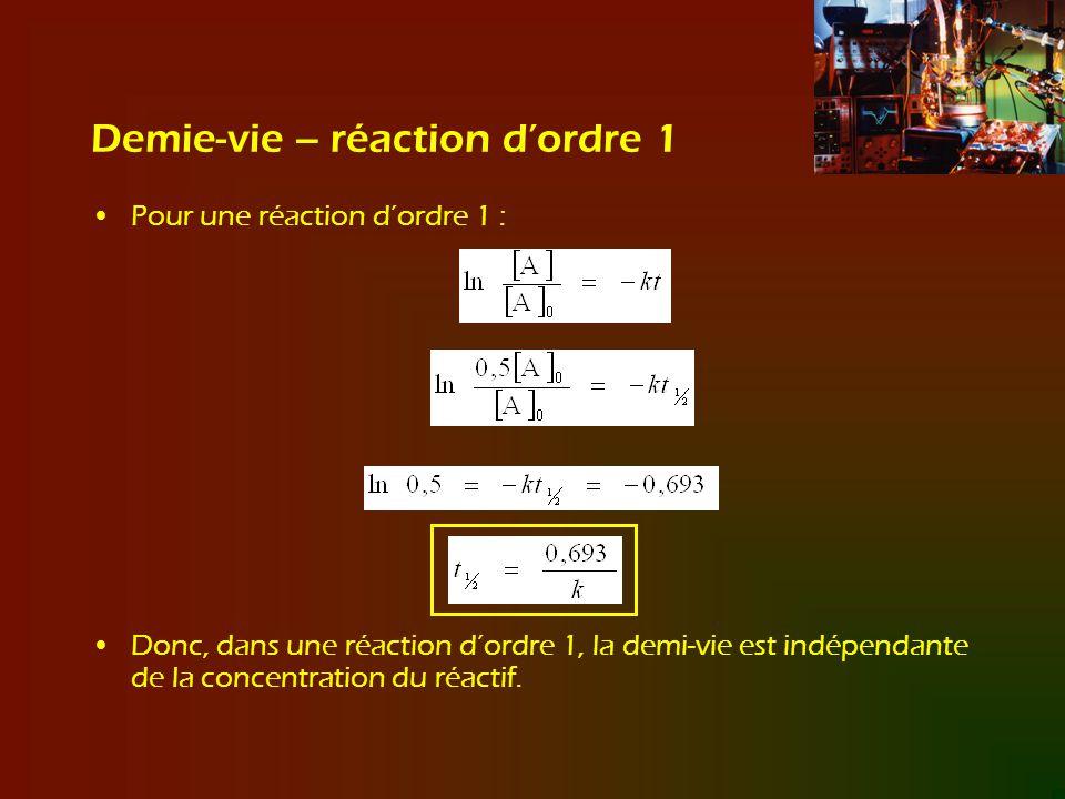 Demie-vie – réaction d'ordre 1