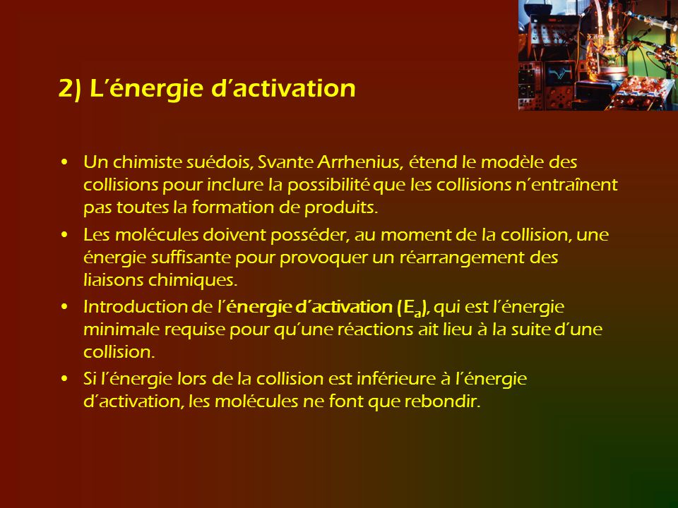 2) L'énergie d'activation