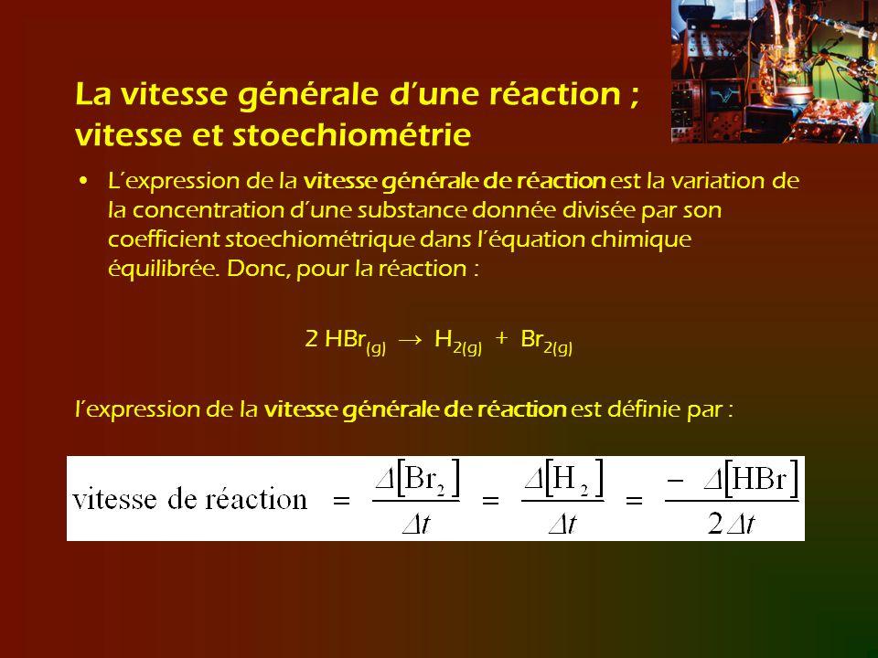 La vitesse générale d'une réaction ; vitesse et stoechiométrie