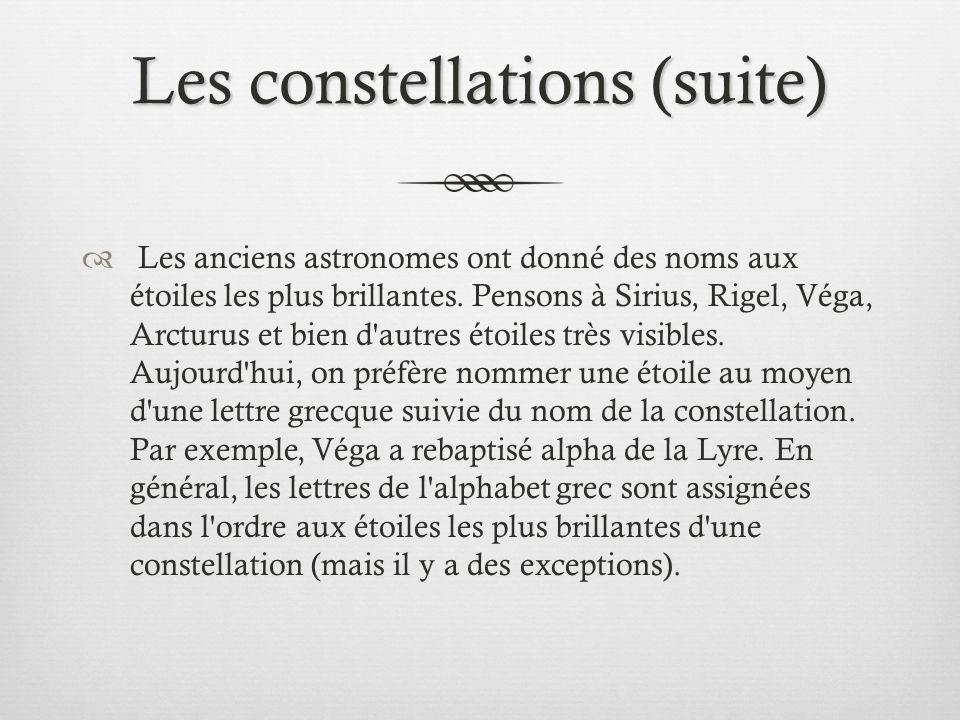 Les constellations (suite)