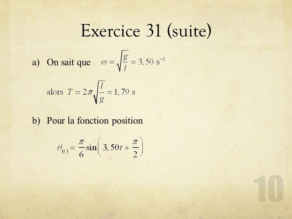Exercice 31 (suite) On sait que Pour la fonction position