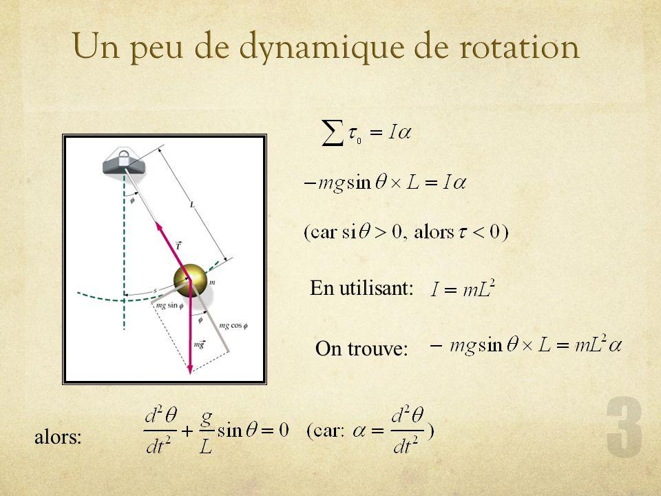 Un peu de dynamique de rotation