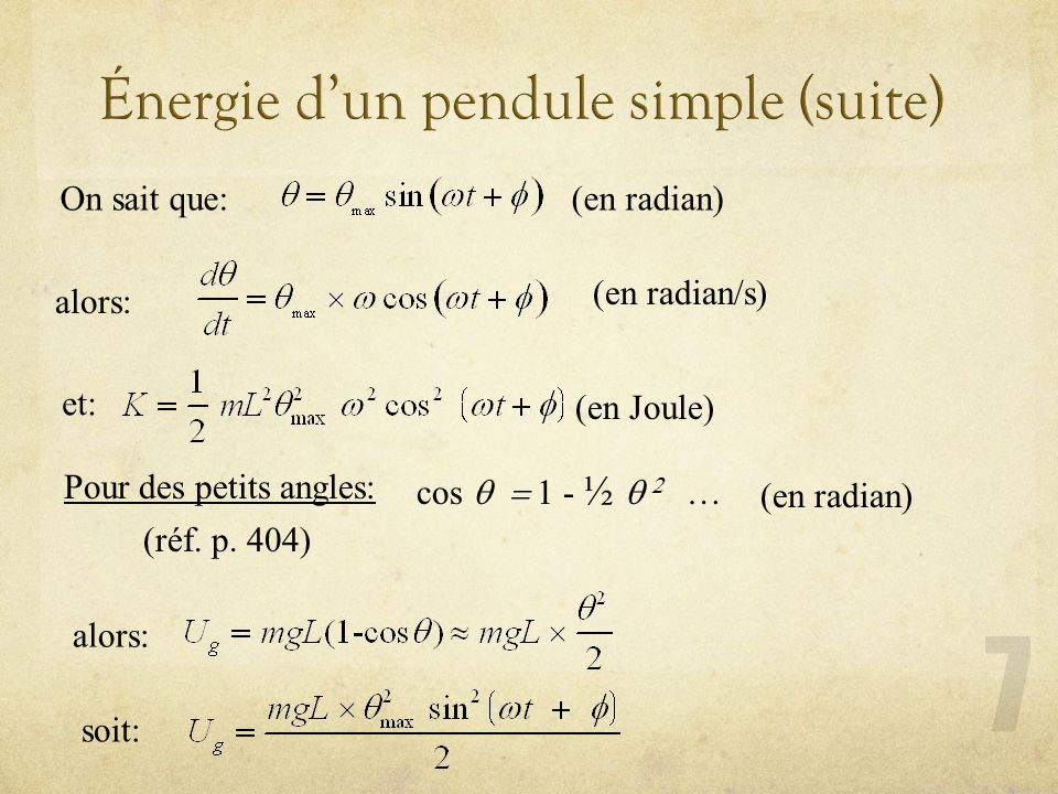 Énergie d'un pendule simple (suite)