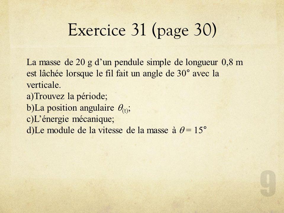 Exercice 31 (page 30) La masse de 20 g d'un pendule simple de longueur 0,8 m est lâchée lorsque le fil fait un angle de 30° avec la verticale.