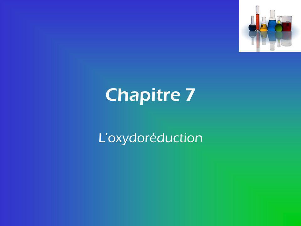 Chapitre 7 L'oxydoréduction