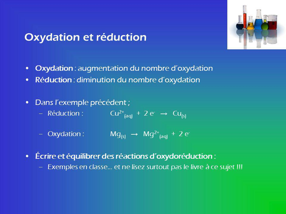 Oxydation et réduction