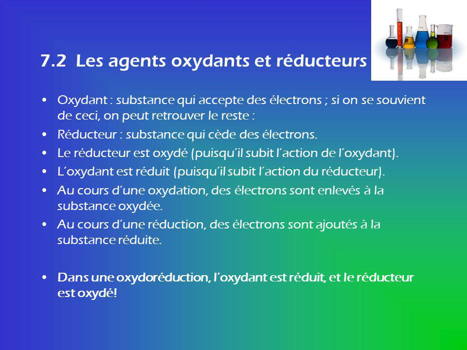 7.2 Les agents oxydants et réducteurs