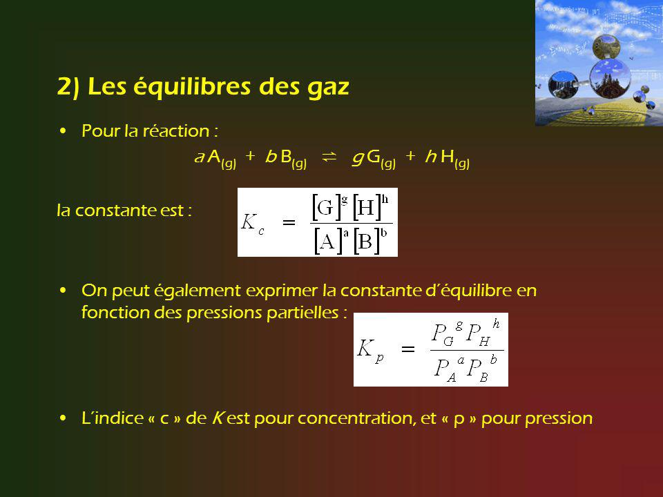 2) Les équilibres des gaz