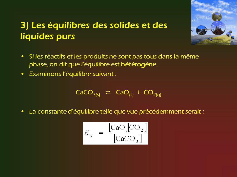 3) Les équilibres des solides et des liquides purs