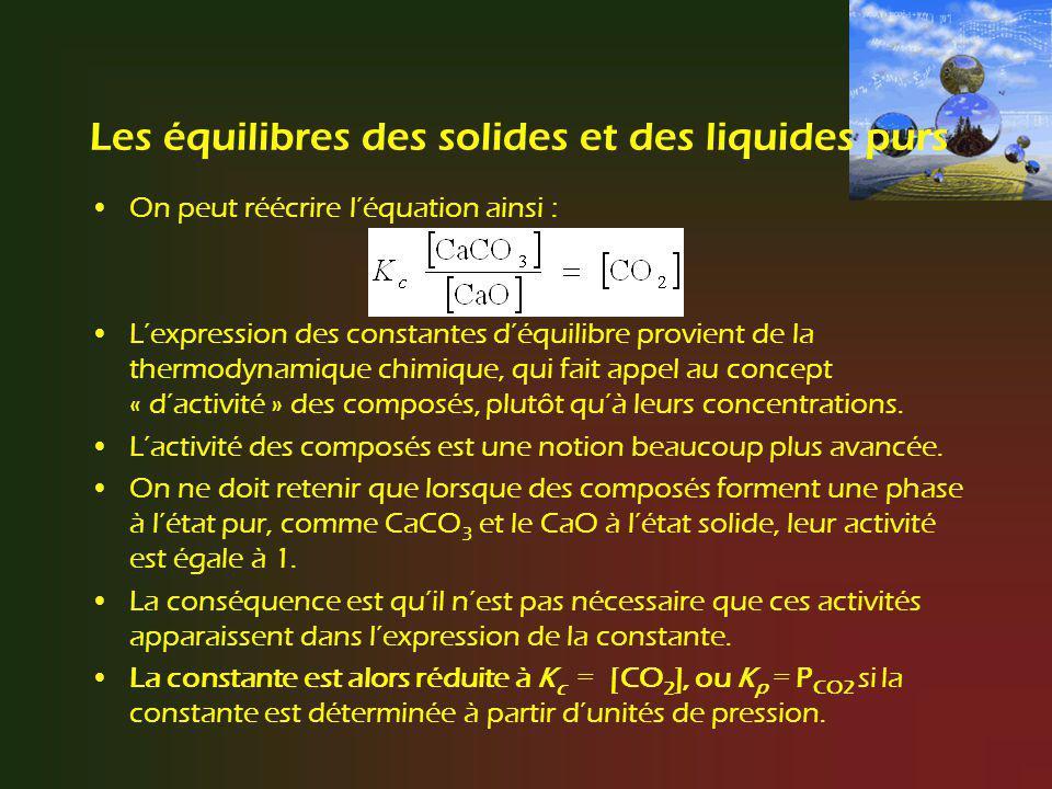Les équilibres des solides et des liquides purs