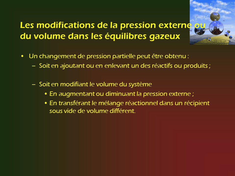 Les modifications de la pression externe ou du volume dans les équilibres gazeux
