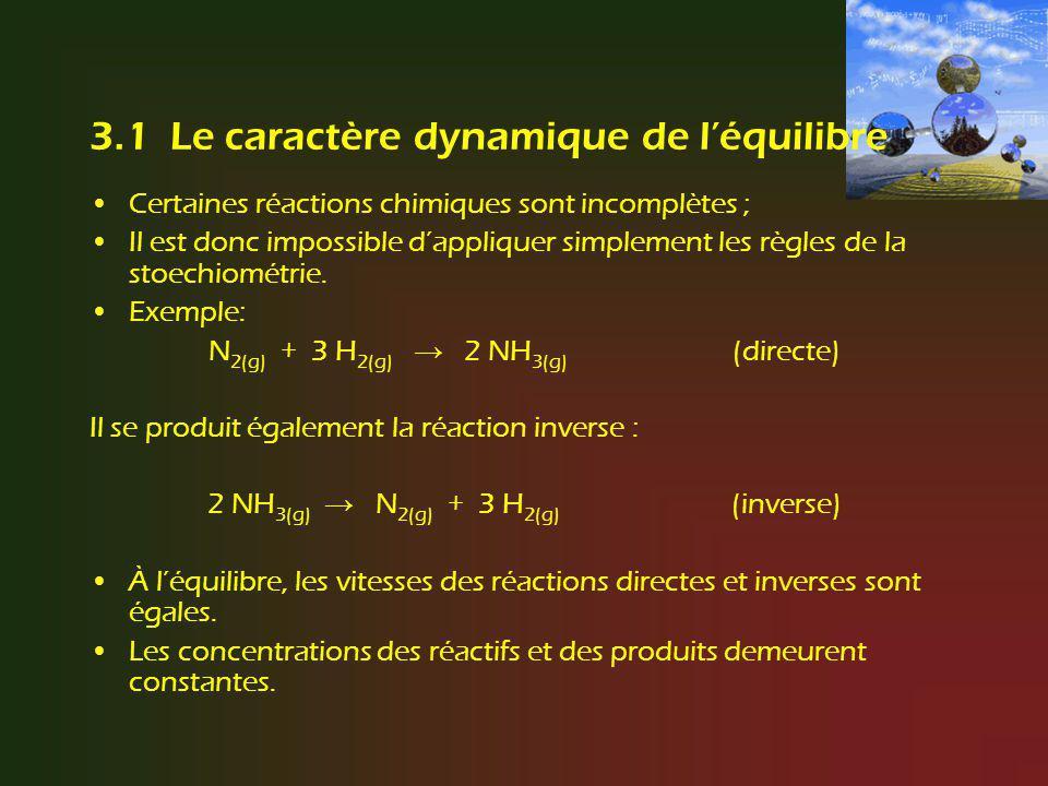 3.1 Le caractère dynamique de l'équilibre