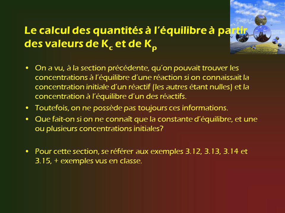 Le calcul des quantités à l'équilibre à partir des valeurs de Kc et de Kp