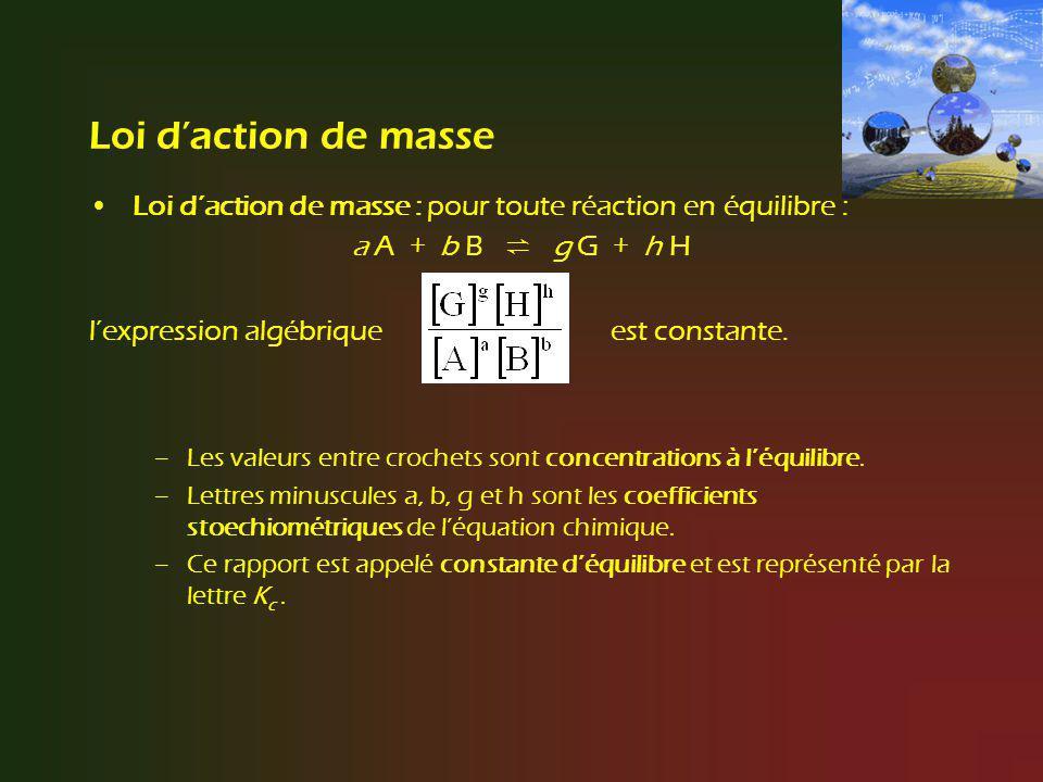 Loi d'action de masse Loi d'action de masse : pour toute réaction en équilibre : a A + b B ⇌ g G + h H.