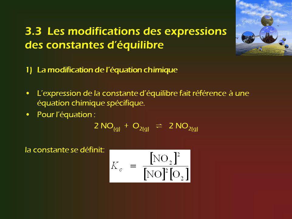 3.3 Les modifications des expressions des constantes d'équilibre