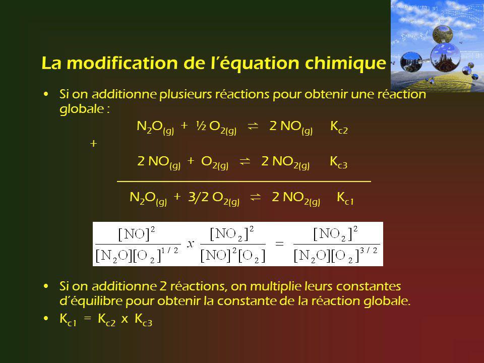 La modification de l'équation chimique