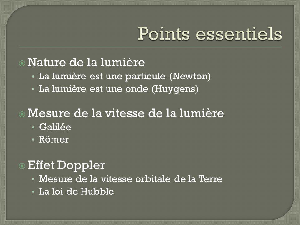 Points essentiels Nature de la lumière