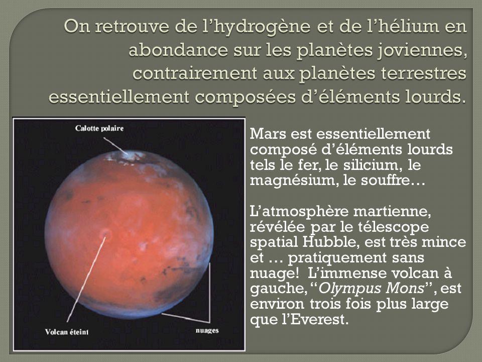 On retrouve de l'hydrogène et de l'hélium en abondance sur les planètes joviennes, contrairement aux planètes terrestres essentiellement composées d'éléments lourds.