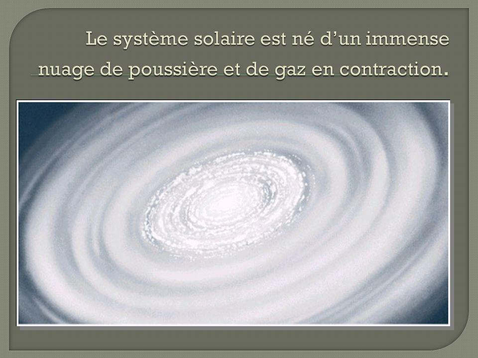 Le système solaire est né d'un immense nuage de poussière et de gaz en contraction.