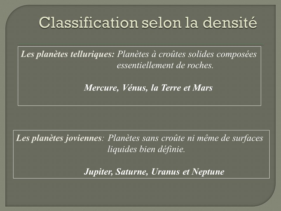 Classification selon la densité