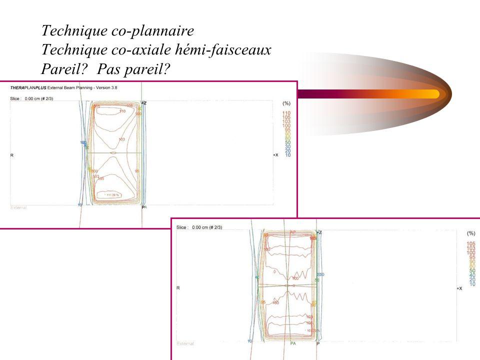 Technique co-plannaire Technique co-axiale hémi-faisceaux Pareil