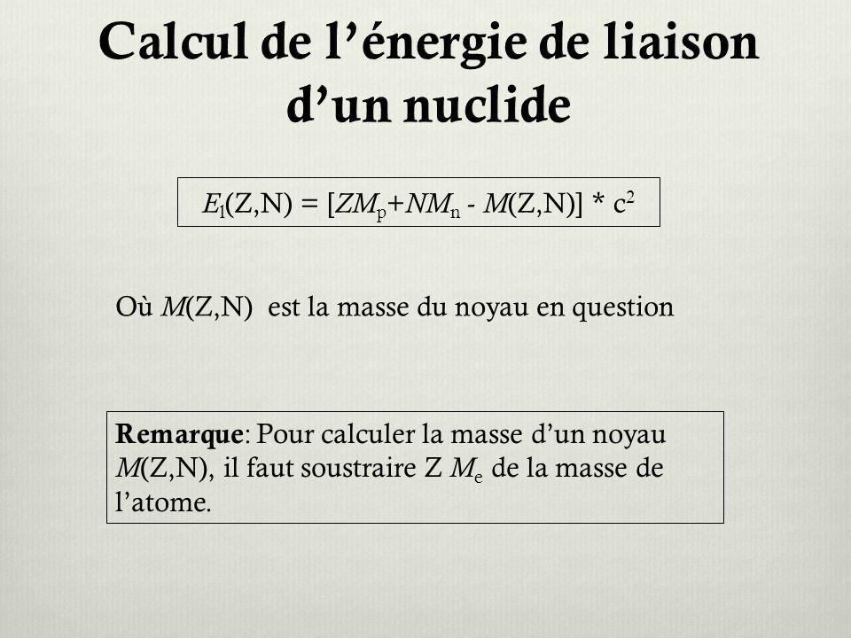 Calcul de l'énergie de liaison d'un nuclide