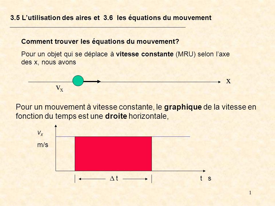 3.5 L'utilisation des aires et 3.6 les équations du mouvement