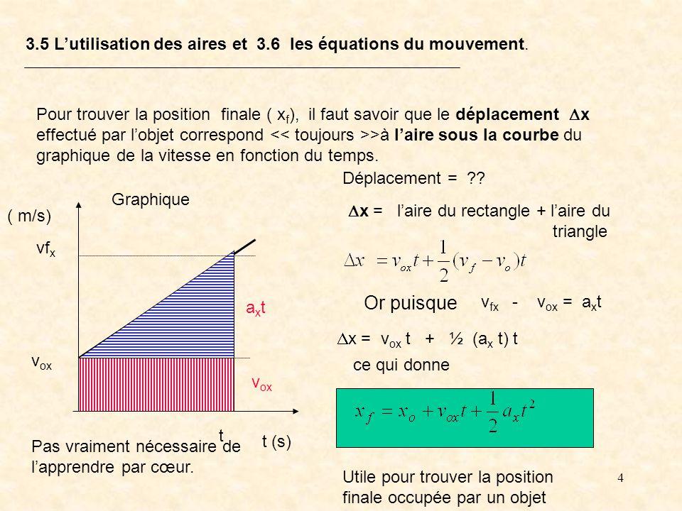 3.5 L'utilisation des aires et 3.6 les équations du mouvement.