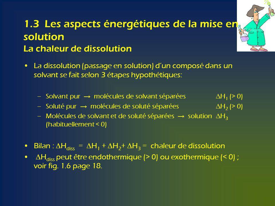 1.3 Les aspects énergétiques de la mise en solution La chaleur de dissolution