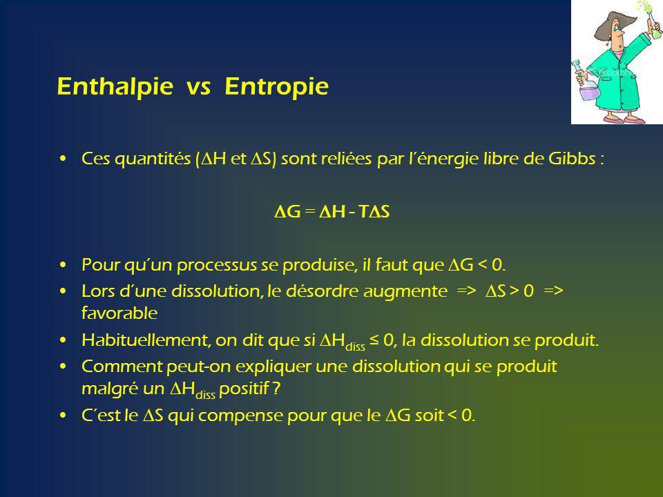 Enthalpie vs Entropie Ces quantités (DH et DS) sont reliées par l'énergie libre de Gibbs : DG = DH - TDS.