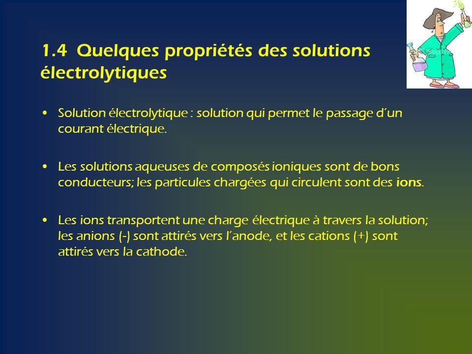 1.4 Quelques propriétés des solutions électrolytiques