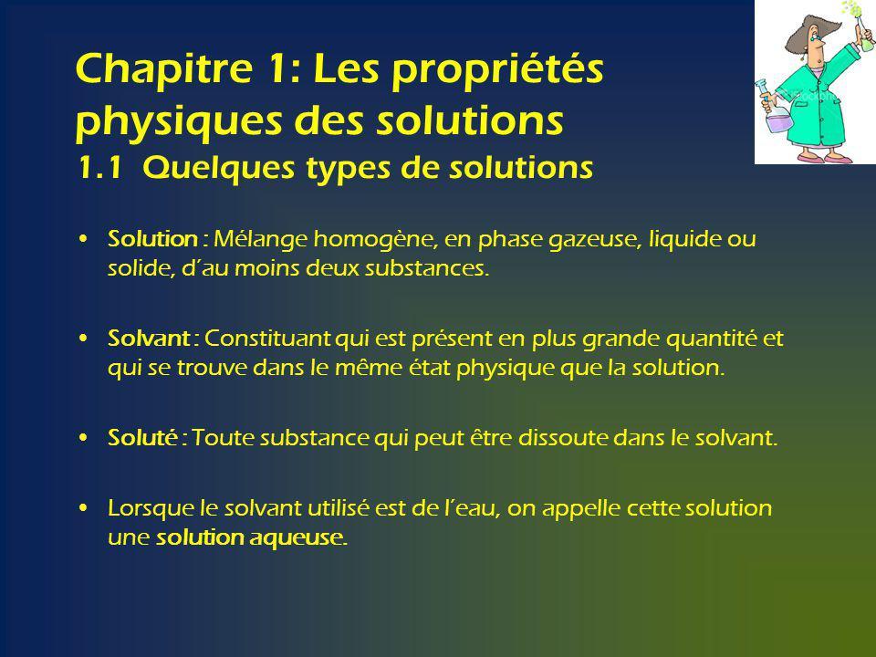 Chapitre 1: Les propriétés physiques des solutions 1