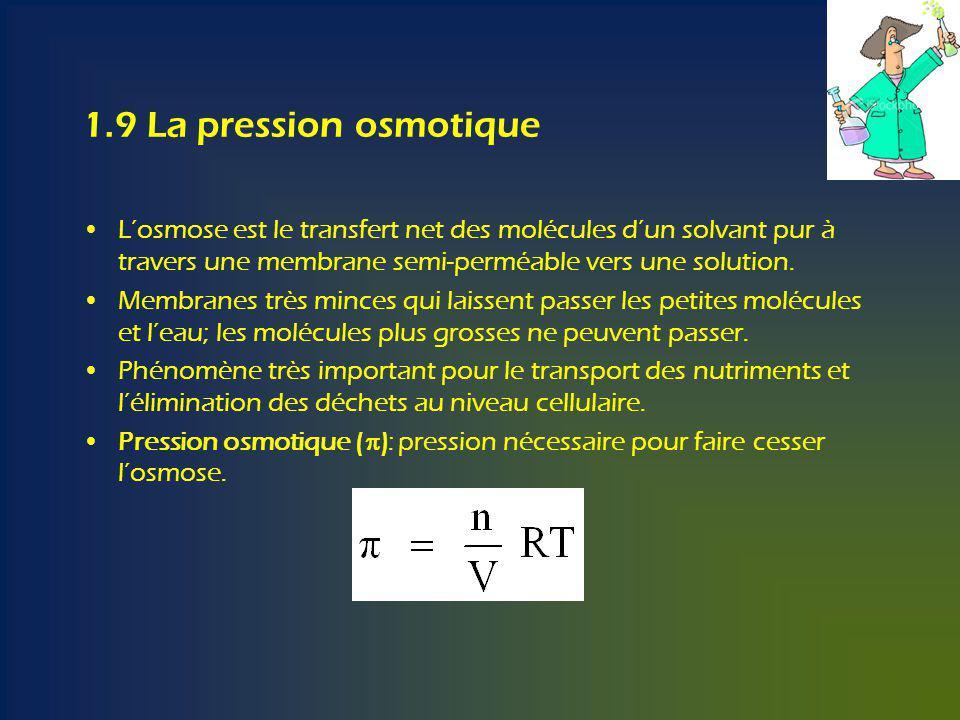 1.9 La pression osmotique L'osmose est le transfert net des molécules d'un solvant pur à travers une membrane semi-perméable vers une solution.