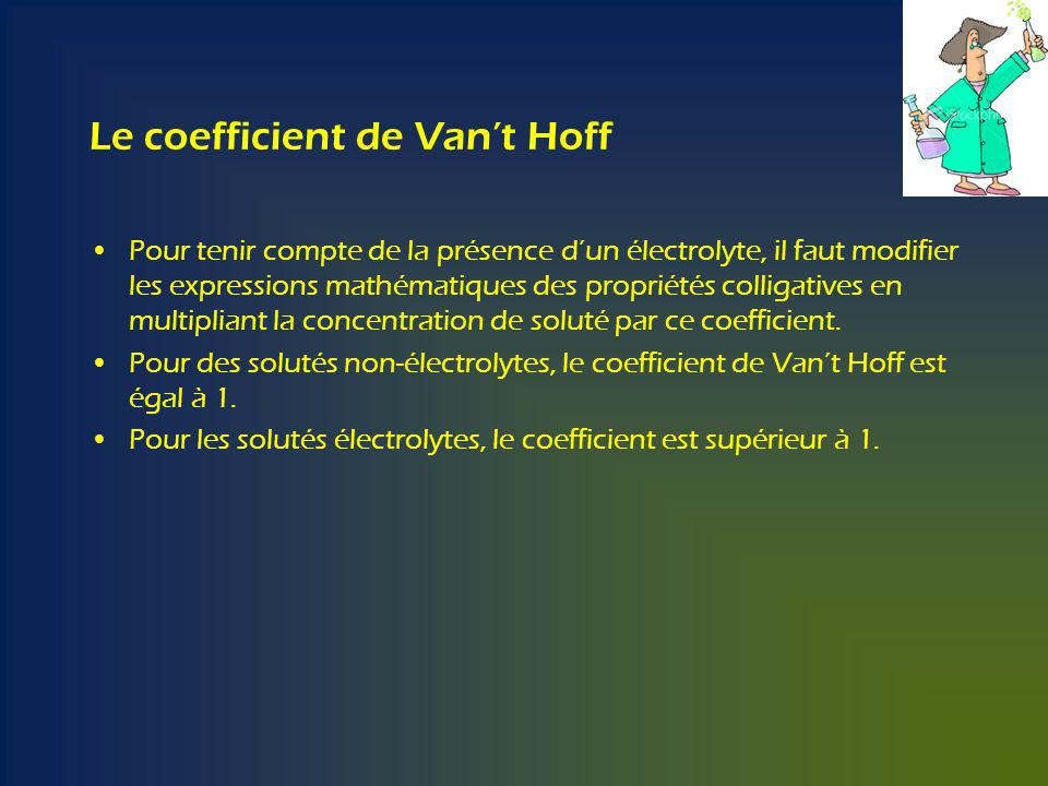 Le coefficient de Van't Hoff