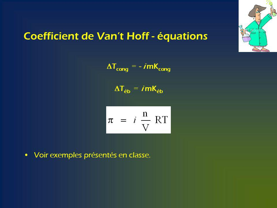 Coefficient de Van't Hoff - équations