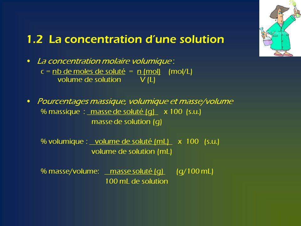 1.2 La concentration d'une solution
