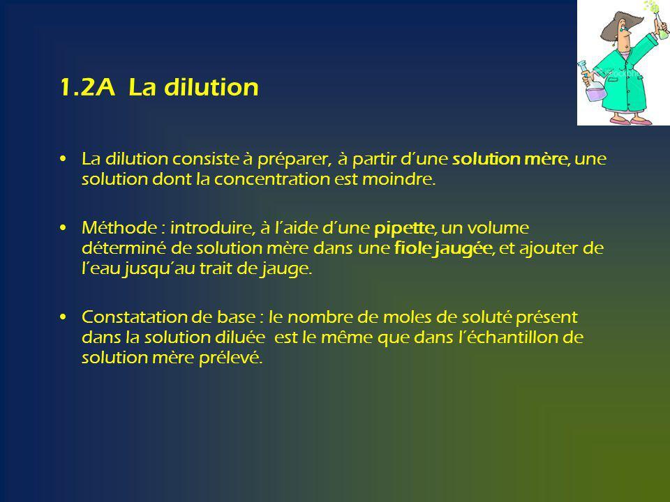 1.2A La dilution La dilution consiste à préparer, à partir d'une solution mère, une solution dont la concentration est moindre.
