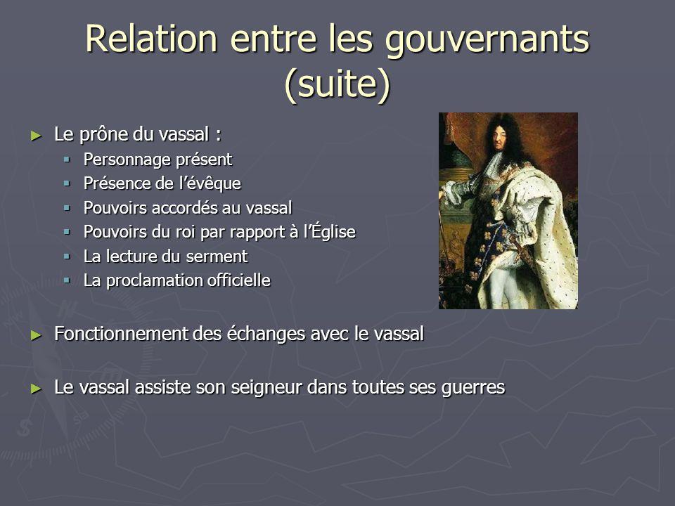 Relation entre les gouvernants (suite)